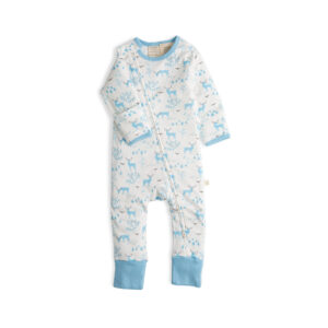 Deer Land Long Sleeve Organic Sleepsuit with Zip