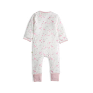 Soft Pink Bambino Long Sleeve Organic Frill Sleepsuit with Zip