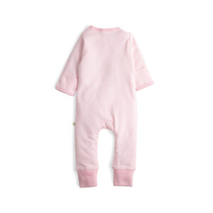 Pink Stripes Long Sleeve Organic Frill Sleepsuit with Zip