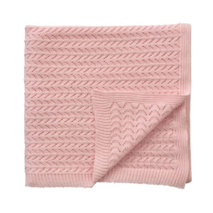 Knitted Blanket - Soft Pink