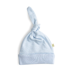 Baby Blue Stripes Organic Knotted Beanie