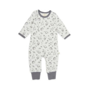 Dino Print Organic Long Sleeve Sleepsuit with Zip