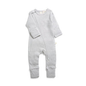 Granite Stripes Organic Long Sleeve Sleepsuit with Zip