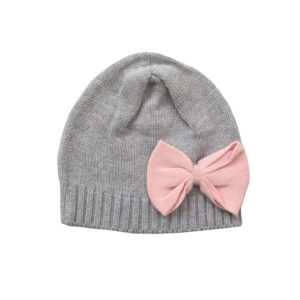 Knitted Beanie with Bow - Grey Marle