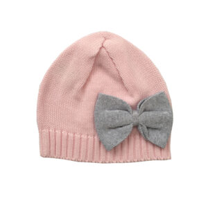 Knitted Beanie with Bow - Soft Pink