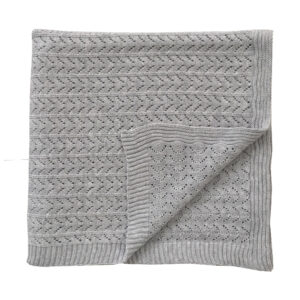 Knitted Blanket - Grey Marle