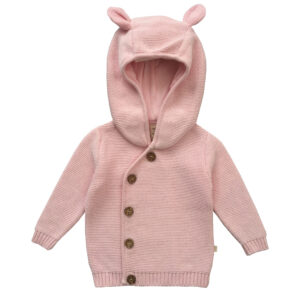 Knitted Hoodie with buttons - Soft Pink