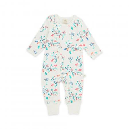 Garden Floral Organic Long Sleeve Sleepsuit with Zip