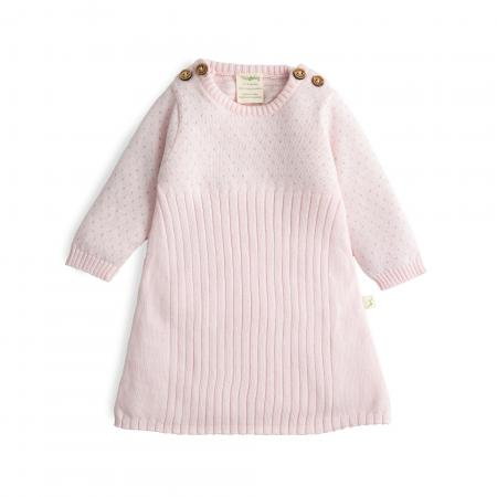 Soft Pink Bambino Organic Knitted Jacquard Dress