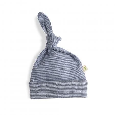 Sapphire Stripes Organic Knotted Beanie